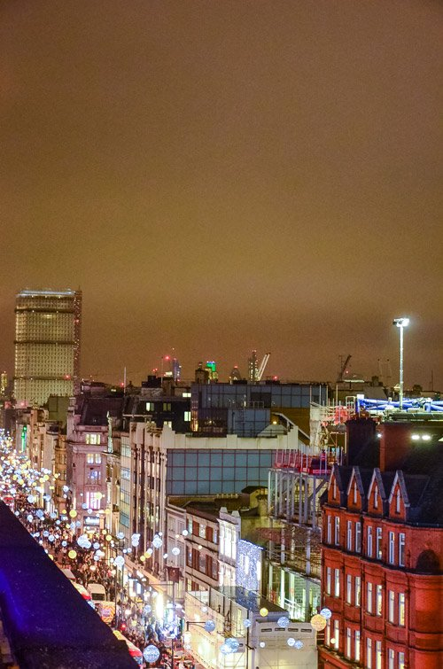 London Christmas Lights on Oxford Street from above