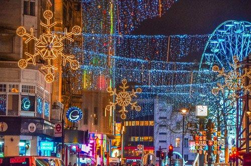 London Eye Christmas lights in London