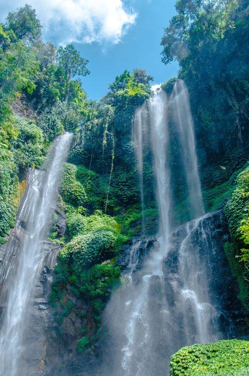 The Niagara Sekumpul Waterfall is 80m high