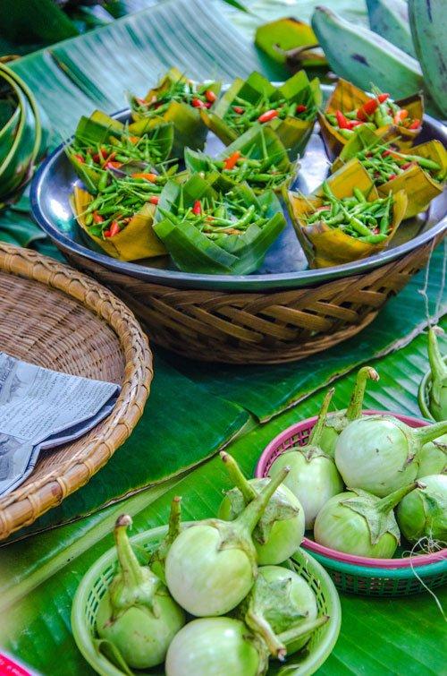 fresh veggies at Khlong Lat Mayom Floating Market in Bangkok