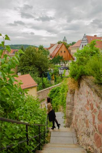 the path up to Albrechtsburg Castle near Dresden, Germany