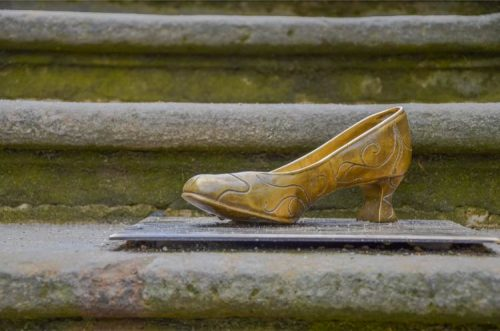 a golden Cinderella shoe at Moritzburg Castle