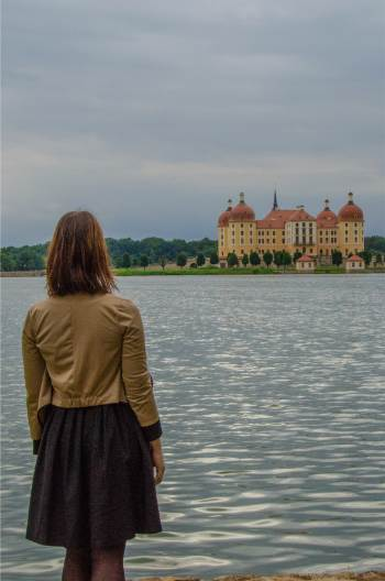 Moritzburg Castle near Dresden seen from a lake