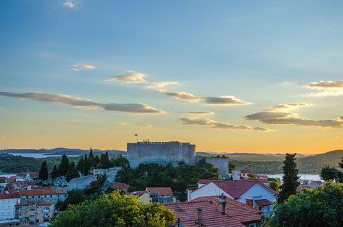 fortress at sunset over Šibenik, Croatia