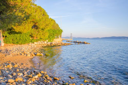 Sunset in Croatia - Zadar shoreline in golden light