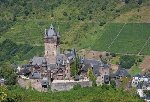 Cochem Castle seen from above in summer, Germany