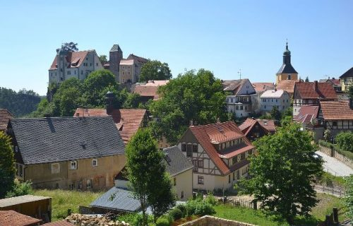 Hohnstein Castle seen from the town, Germany