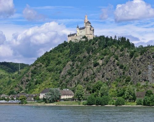Braubach Castle seen from the river from afar, Germany