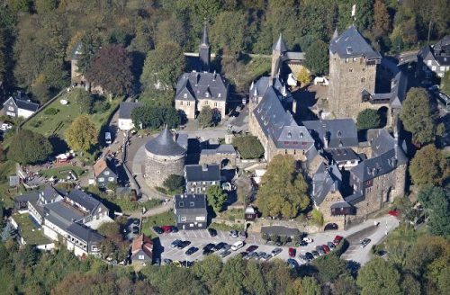 Schloss Burg aerial view in summer, Germany