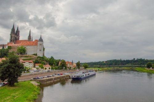 Albrechtsburg with view over river in Saxony, Germany