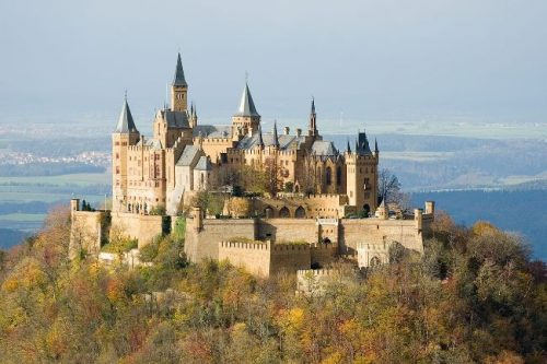 Hohenzollern Castle seen from afar in autumn, Germany