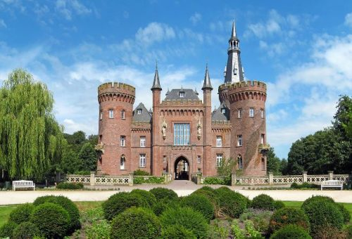 Castle Moyland seen from the garden on a summer day, Germany