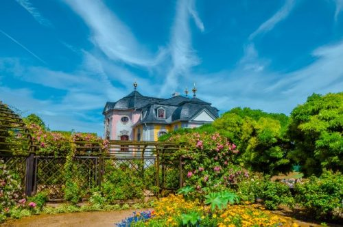Dornburg Castle surrounded by flowers and rose walks