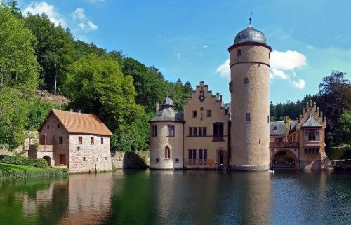 Mespelbrunn Water Castle seen from the moat, Germany