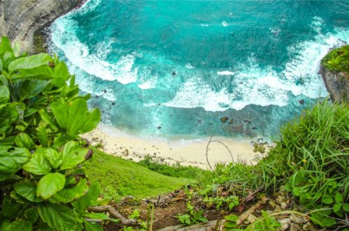 sandy beach below Kelingking Beach , Nusa Penida