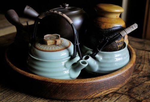 Japanese tea ceremony preparations