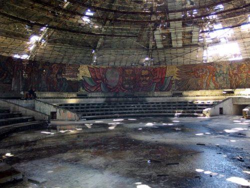 inside of Buzludzha Memorial in Bulgaria