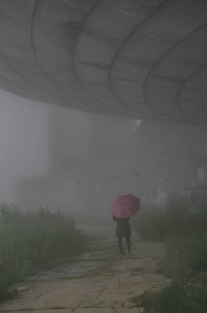 woman with pink umbrella in fog