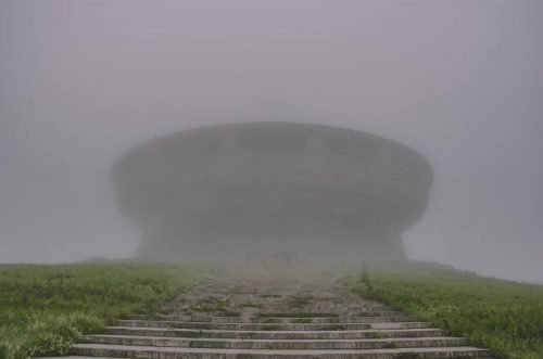 path up to Buzludzha Monument in Bulgaria