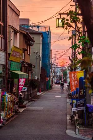 sunset over a street in Shibamata, Tokyo