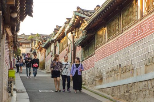 Bukchon Hanok Village with tourists
