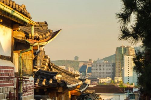 Bukchon Hanok Village at sunset
