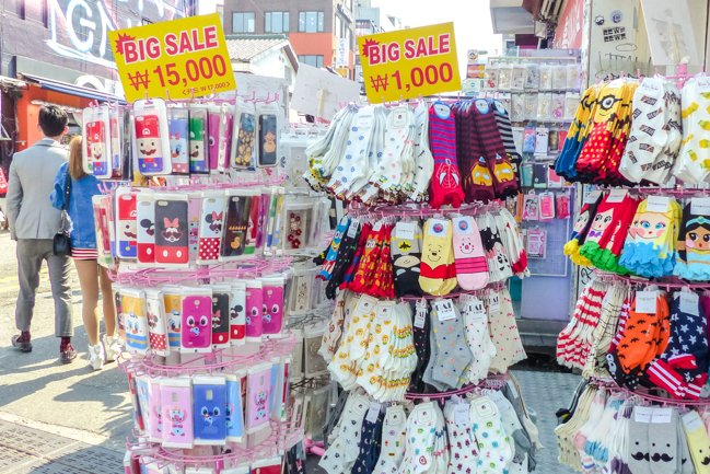 colourful socks and phone cases sold on Hiongdae's streets