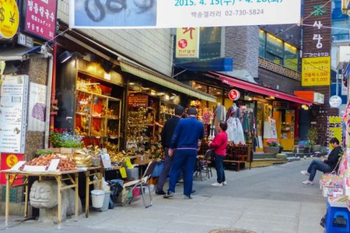 shopping street in Myeongdong, Seoul