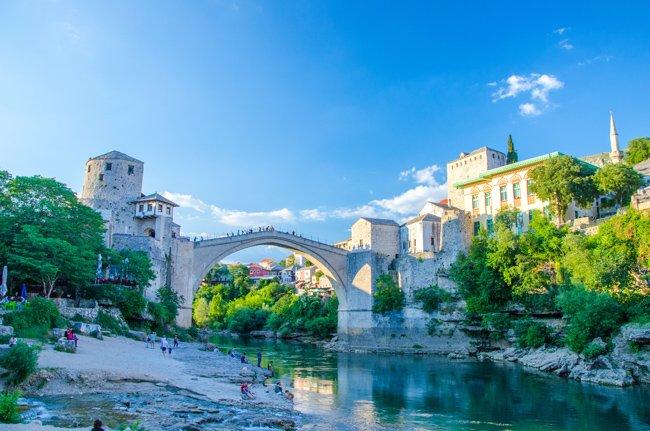Mostar bridge seen from the river below