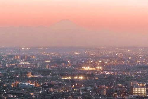 sunset over Tokyo and Mt Fuji seen from Government Buildings in Tokyo, Japan