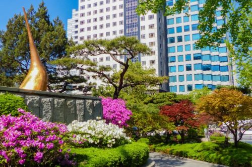 lush garden with azaleas in Gangnam, Seoul, Korea