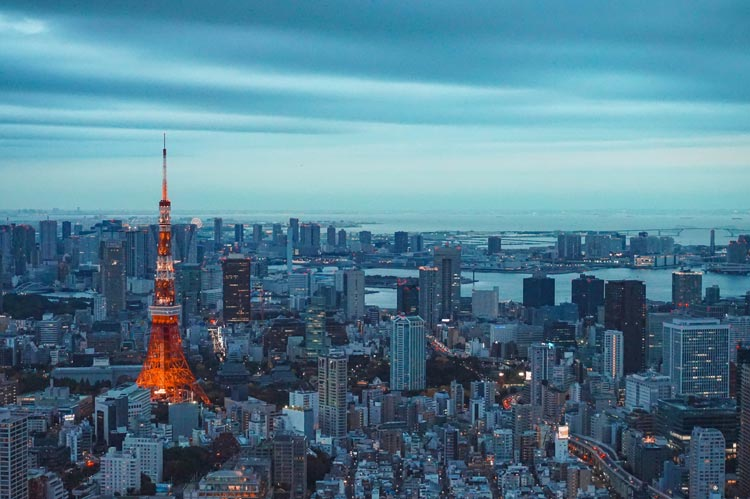 Tokyo Tower with evening skyline
