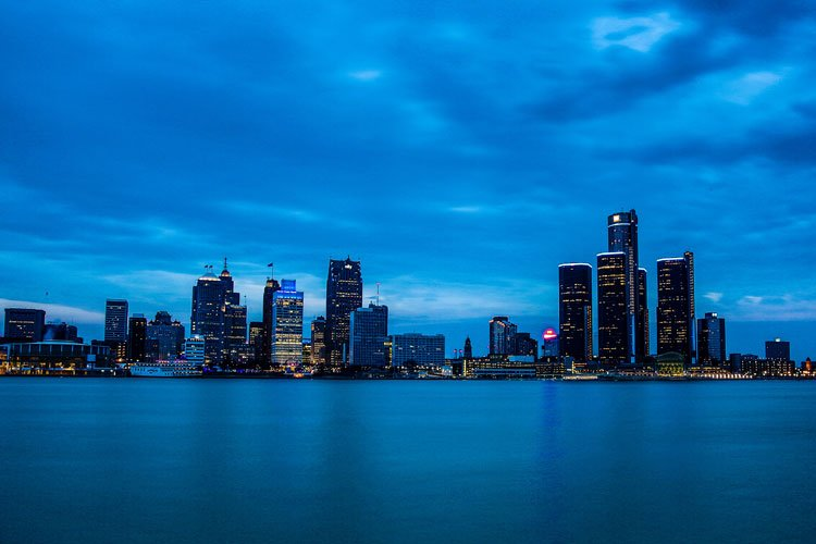 Detroit nightlife - skyline at night