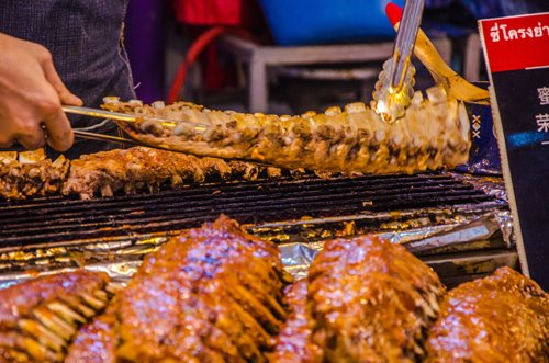 BBQ meat at Khlong Lat Mayom Floating Market in Bangkok