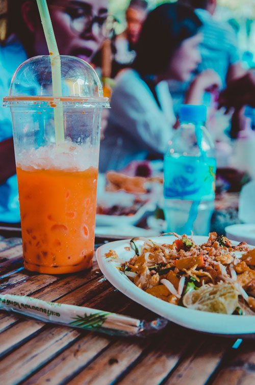 Thai tea and pad thai at Khlong Lat Mayom Floating Market in Bangkok