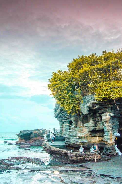 Tanah Lot from the side at low tide, Bali Indonesia
