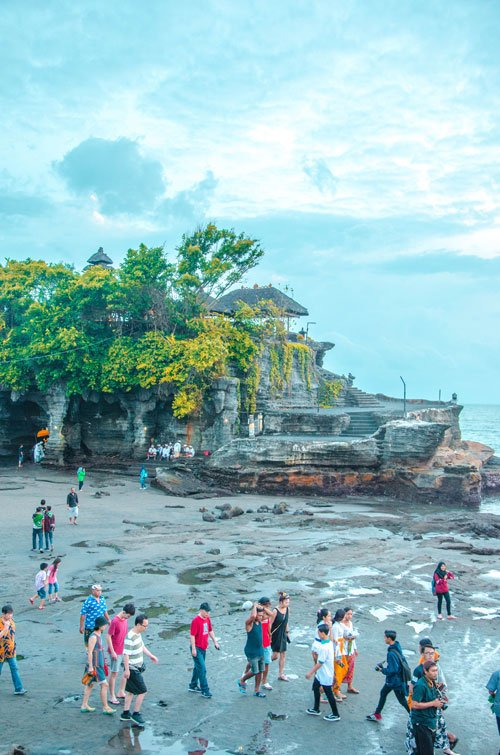 Tanah Lot rock and temple entrance at low tide