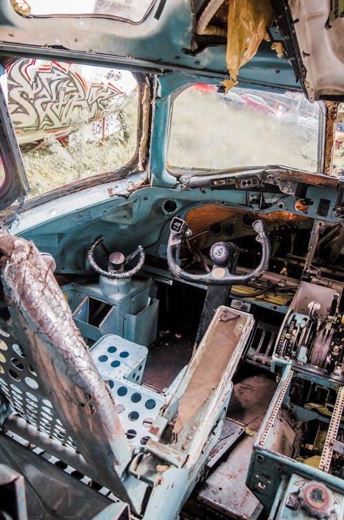 Bangkok Airplane Graveyard - Cockpit of an abandoned airplane