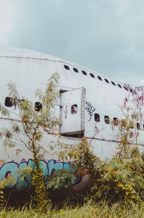 at the aircraft graveyard in bangkok