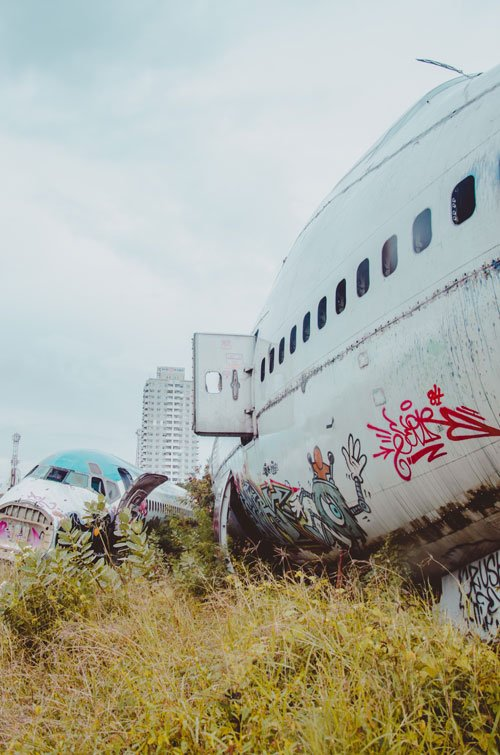 Bangkok Airplane Graveyard with scattered planes