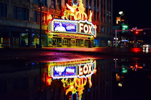 Fox Theatre in Detroit at night
