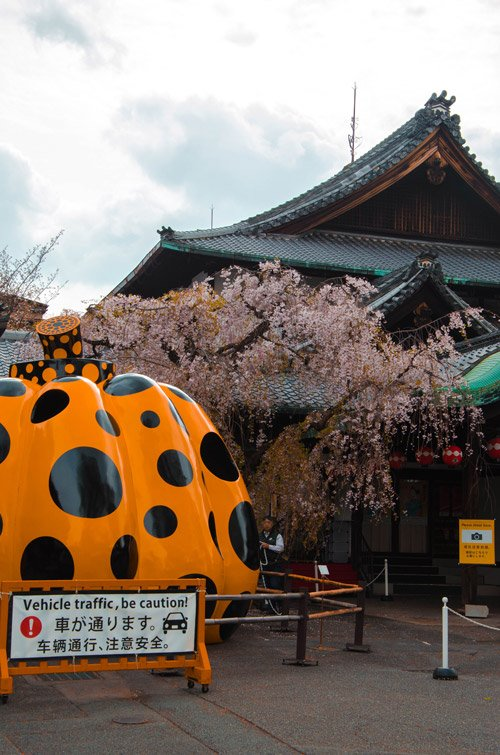 Gion Corner in Kyoto Japan with yellow pumpkin