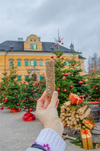 chocolate stick at Hellbrunn Christmas market