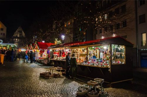 Jena's market square with Christmas vendors