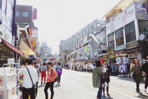 shopping street in Hongdae in Seoul