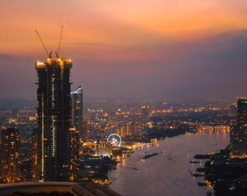 Bangkok at night over the river