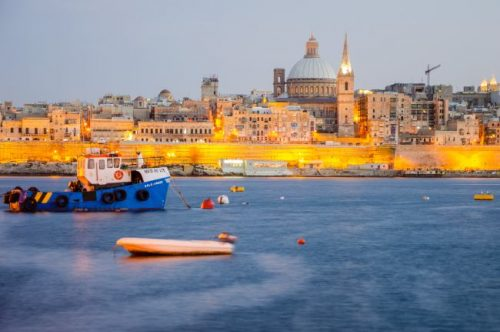 Valletta Malta after sunset