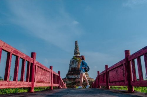 red bridge at Wat Chang Ayutthaya Thailand