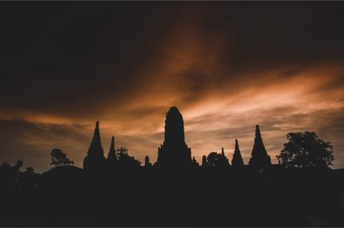 Dramatic sunset at Wat Chai Watthanaram Ayutthaya Thailand
