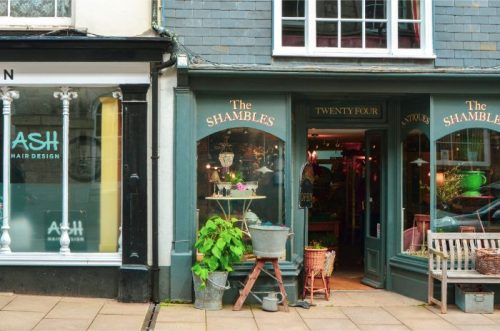 Vintage shops at Ashburton, Devon, UK